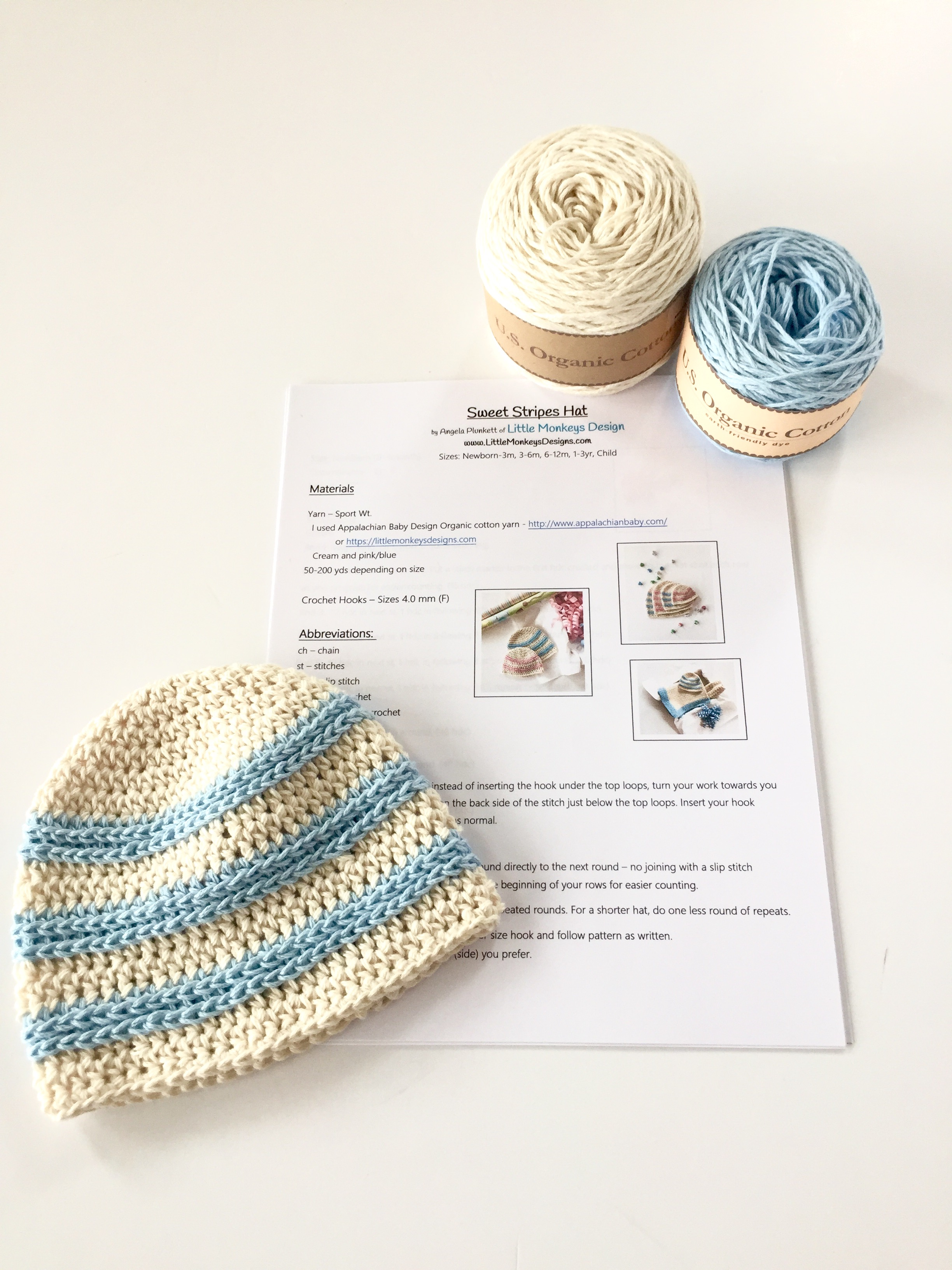 1aa3e18f345 Organic Cotton Baby Hat Kit by Little Monkeys Design