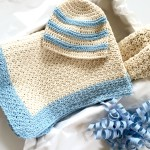 sweet stripes baby hat crochet pattern gift set