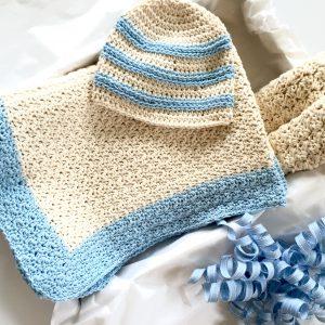sweet stripes baby hat crochet pattern gift set