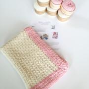 Baby Blanket Crochet Pattern Kit in pink