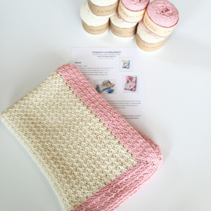 Baby Blanket Crochet Pattern Kit in pink