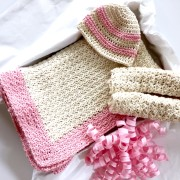 sweet stripes baby hat crochet pattern blanket and wash cloths