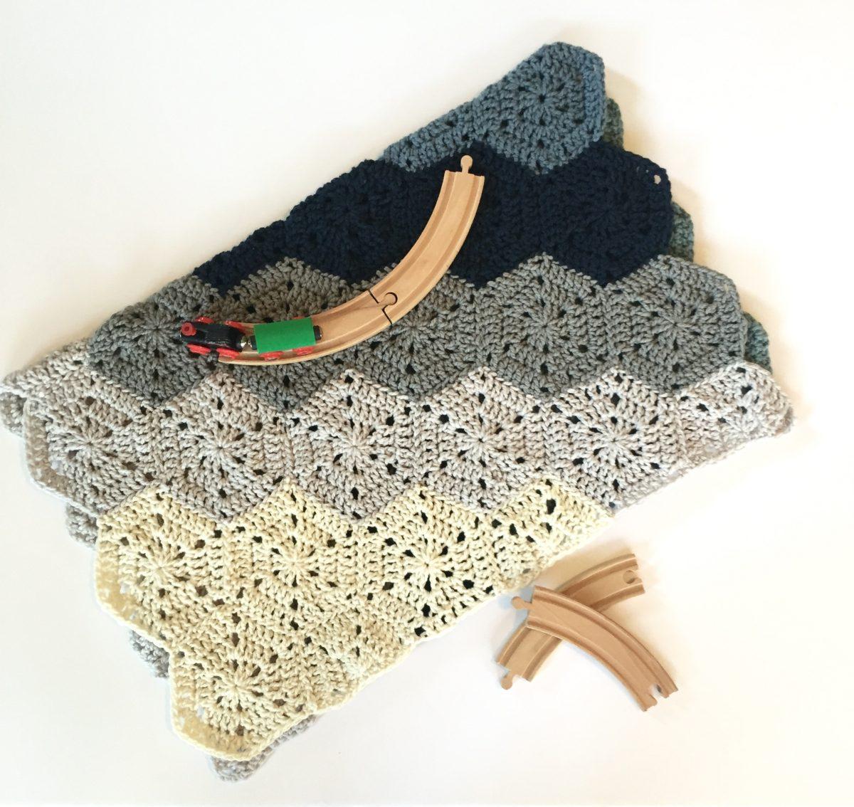 Chunky Hexi Blanket crochet pattern baby boy
