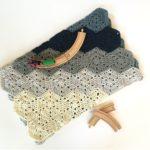 Chunky baby blanket crochet kit by Little Monkeys Design in blue merino.