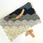 Chunky baby blanket crochet kit by Little Monkeys Design in blue merino.