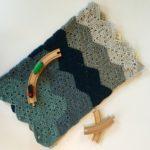 Chunky baby blanket crochet kit by Little Monkeys Design for baby boy.