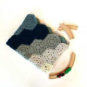 Chunky baby blanket crochet kit by Little Monkeys Design.