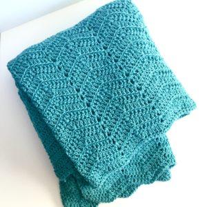 cozy comforts merino blanket in bluebell by Little Monkeys Design.
