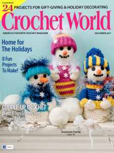 Crochet World December 2017 - Tasseled Mug Rug crochet pattern by Little Monkeys Design