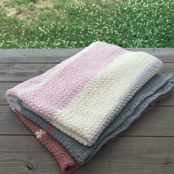Dream Weaver organic merino wool blanket crochet pattern in natural merino.
