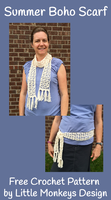 Free Crochet Pattern - Summer Boho Scarf