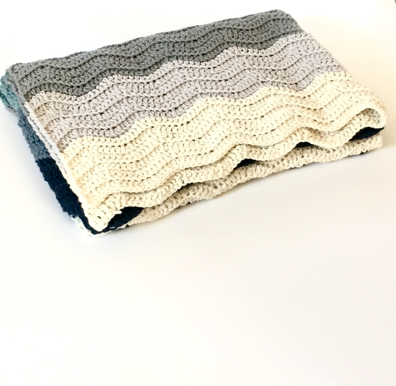 ... crochet pattern in blues. Handmade Merino blanket ready for purchase