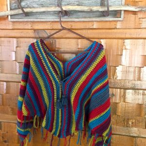 Gypsy poncho with tassel ties