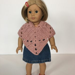 Meadow poncho crochet pattern for American Girl Doll by Little Monkeys Designs