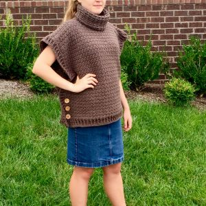 Sophia Poncho Cowl neck poncho crochet pattern by Little Monkeys Design