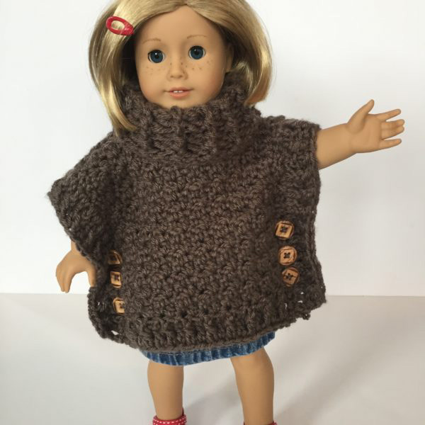 Sophia Doll poncho crochet pattern by Little Monkeys Design