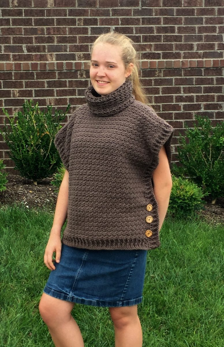 Sophia poncho with cowl crochet pattern for girls