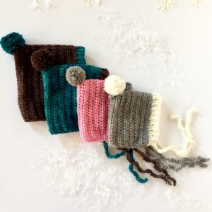 Color Me Happy merino wool baby bonnet by Little Monkeys Design