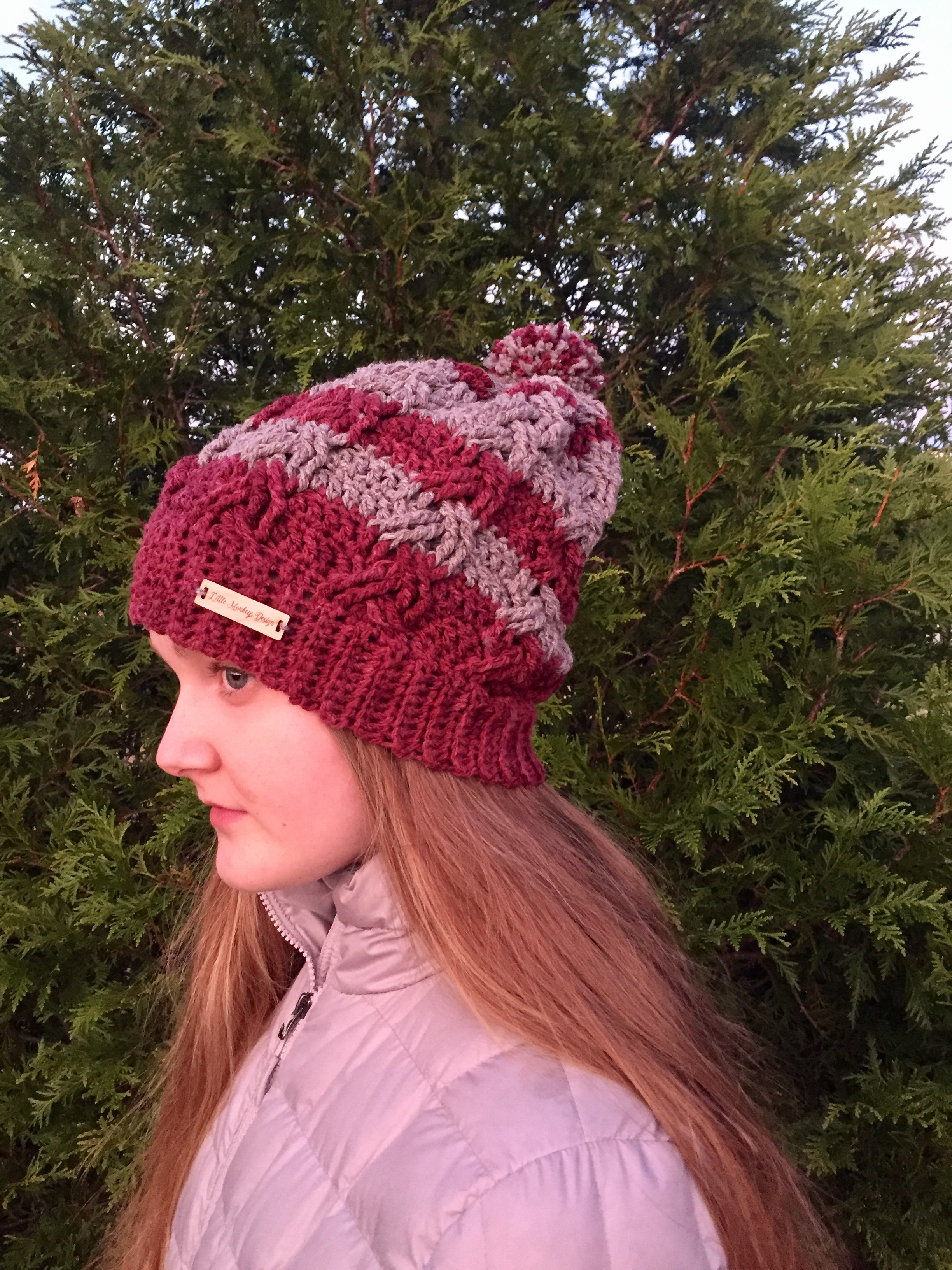 802f1881462 Crochet Cable Hat Pattern by Little Monkeys Design