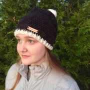 Winter Pom-pom hats in merino wool by Little Monkeys Design.