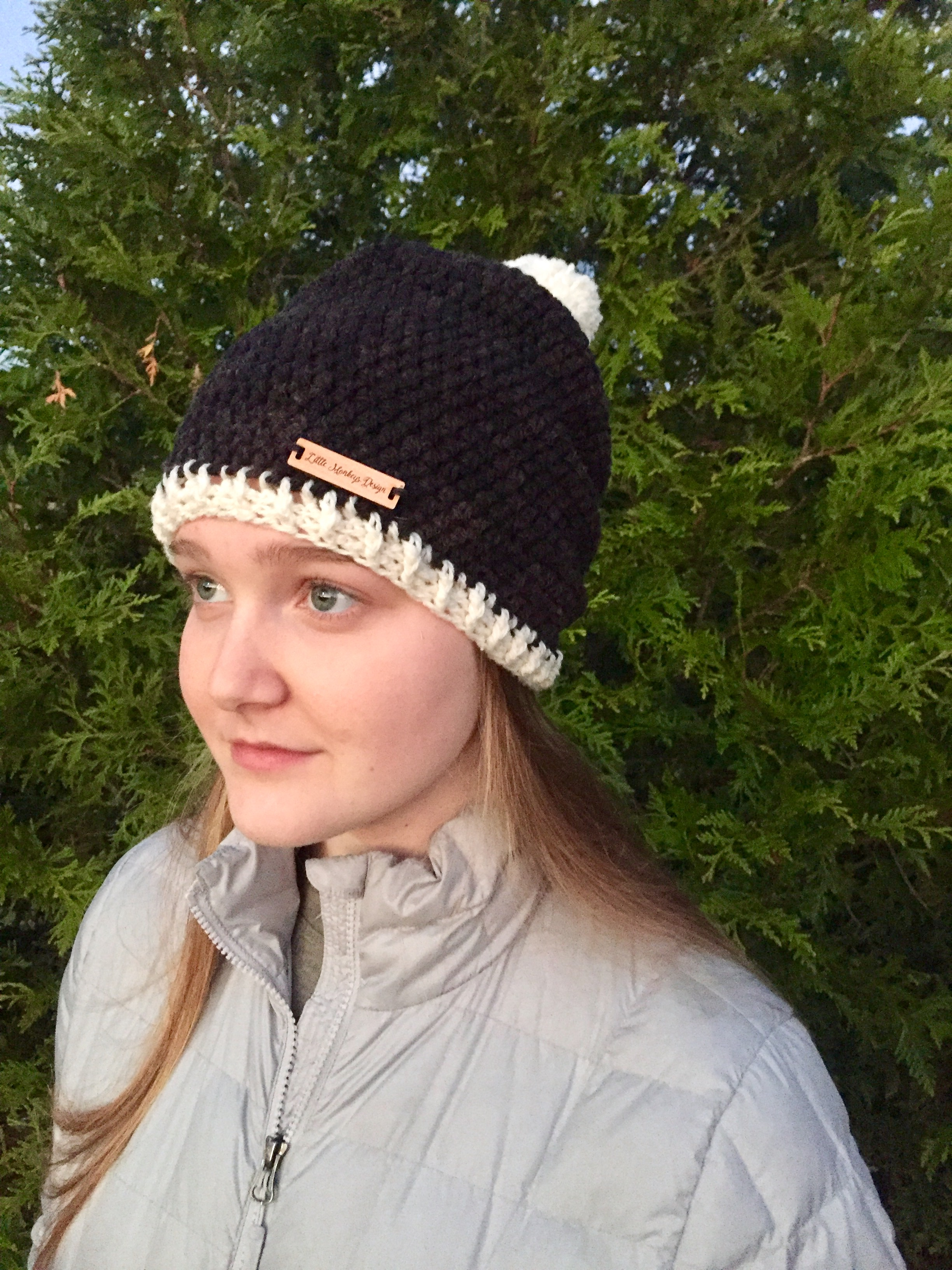 Hello Winter Pom-Pom Hat Crochet Pattern by Little Monkeys Designs fbd1bbea84d