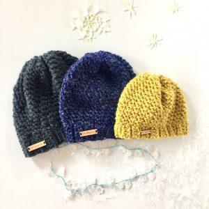 Let It Snow Chunky Winter Hat in merino/alpaca blend wool by Little Monkeys Design.