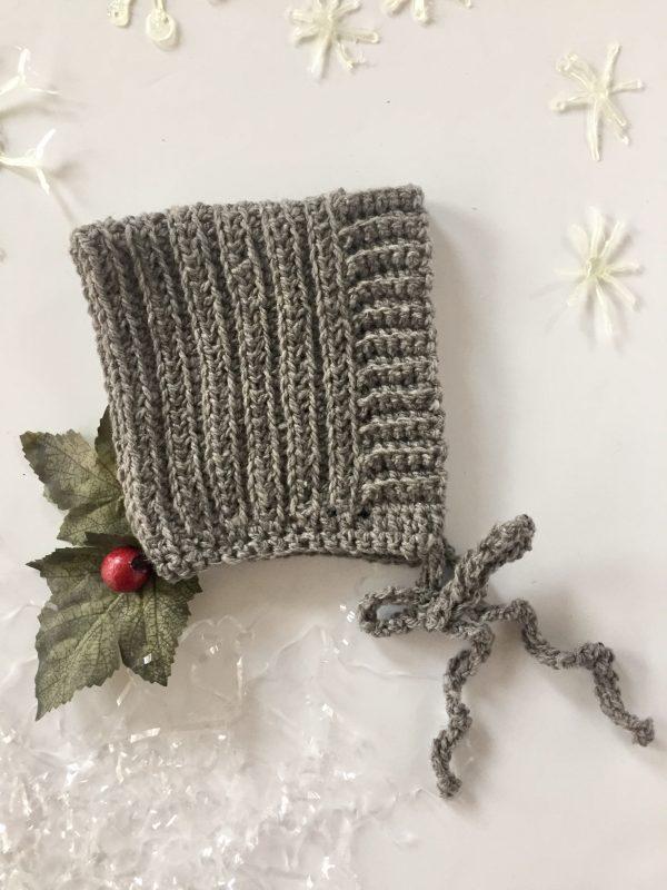 Ribbed Baby Bonnet crochet pattern by Little Monkeys Designs