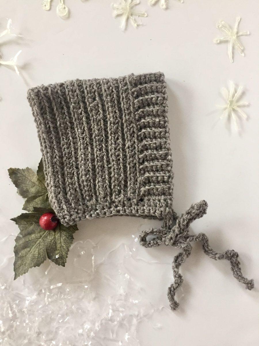 Ribbed Baby Bonnet by Little Monkeys Design in grey merino