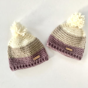Chunky wool pom pom beanie hat by Little Monkeys Design