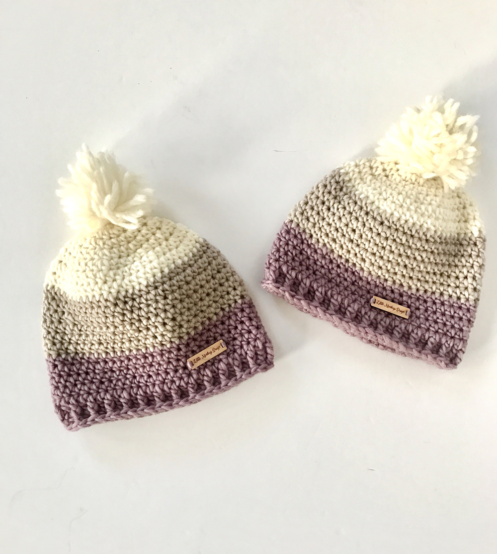 Chunky Merino Wool Hats for adults in cream, brown, purple natural merino wool by Little Monkeys Design