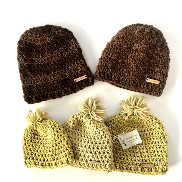 Crochet Chunky Hats in naturally dyed wool by Little Monkeys Design