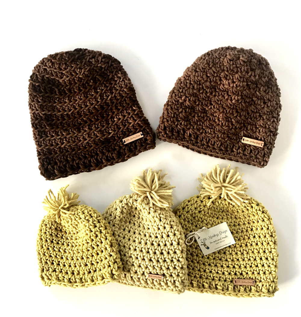 Chunky Merino Wool Hats for kids and adults in natural fibers by Little Monkeys Design