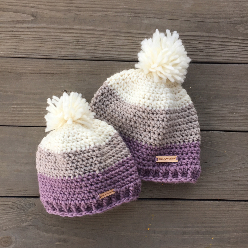 Chunky Wool Pom Pom Beanie Hat by Little Monkeys Design
