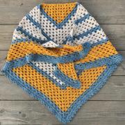 A Sunny Day triangle shawl crochet pattern by Little Monkeys Design.