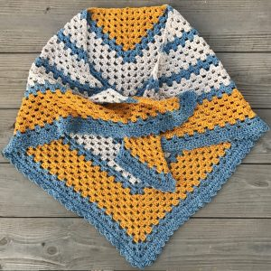 A Sunny Day triangle shawl crochet pattern by Little Monkeys Design.