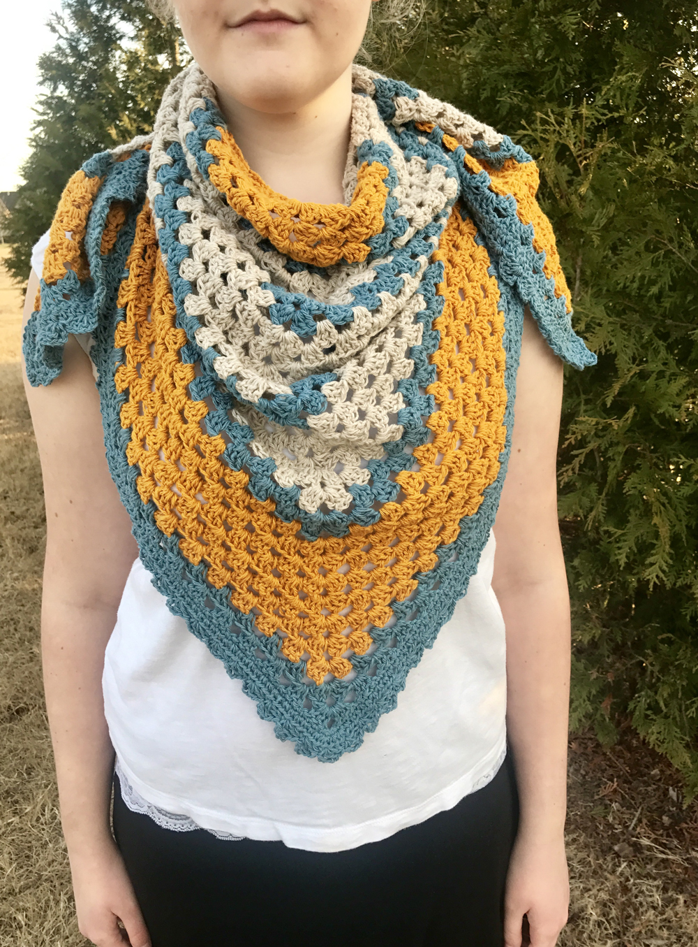 A Sunny Day Triangle Shawl Crochet Pattern By Little