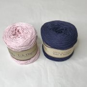 Appalachian Baby Design organic cotton yarn in blush and indigo.