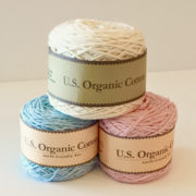 Appalachian Baby Design Organic Cotton Yarn - cream, blue, and pink organic cotton yarn - organic cotton crochet baby blanket pattern kit