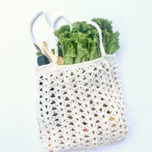 Farmers Market bag crochet pattern kit by Little Monkeys Design - designed with chunky organic cotton yarn