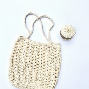 Farmers Market bag crochet pattern kit by Little Monkeys Design - chunky cotton bag crochet pattern - designed with chunky organic cotton yarn
