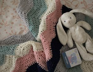 Perfection! Baby Blanket crochet pattern - crochet baby blanket pattern - modern ripple stitch blanket - organic cotton wool blend - organic baby blanket - crochet baby blanket kit