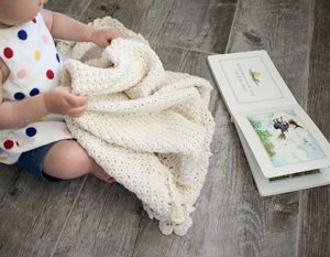 Pure Love crochet pattern baby blanket - baby blanket crochet pattern - crochet baby blanket pattern - baby blanket crochet pattern kit - cream organic cotton baby blanket by Little Monkeys Design