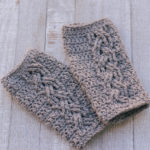 Cable Stitch Wrist Warmers crochet pattern - cable fingerless gloves crochet pattern - un texting gloves - by Little Monkeys Design