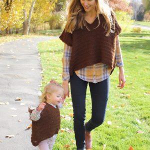 Harper Poncho crochet pattern in sizes for little girls thru women