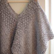 Lacy Poncho crochet pattern - crochet poncho pattern - crochet pattern poncho in grey merino wool by Little Monkeys Design