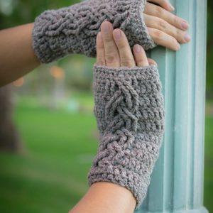 Cable Stitch Wrist Warmers crochet pattern