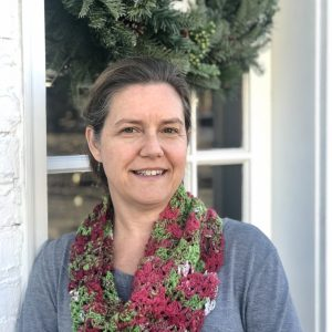 Holiday cowl crochet pattern in art yarn by Little Monkeys Design