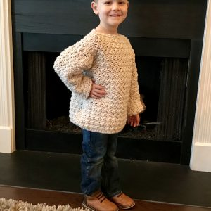 Super Cozy Pullover sweater crochet pattern by Little Monkeys Design - child sweater and jeans