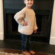 Super Cozy Pullover sweater crochet pattern by Little Monkeys Design - child sweater - sized Child 2 - Adult 4/5XL