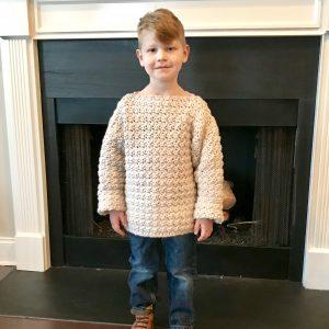 Super Cozy Pullover sweater crochet pattern by Little Monkeys Design - child sweater pattern